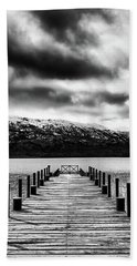Landscape With Lake And Snowy Mountains In The Argentine Patagonia - Black And White Beach Towel