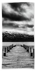 Landscape With Lake And Snowy Mountains In The Argentine Patagonia - Black And White Beach Sheet