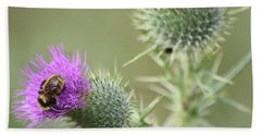 Thistle And Bee 1 Beach Towel