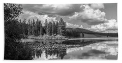 Thompson Lake In Black And White Beach Towel