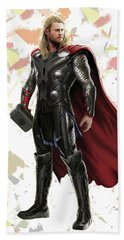 Beach Sheet featuring the mixed media Thor Splash Super Hero Series by Movie Poster Prints