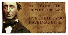 Thoreau Quote 1 Beach Towel by Andrew Fare