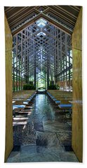 Beach Towel featuring the photograph Thorncrown Chapel Entrance by Cricket Hackmann