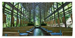 Beach Towel featuring the photograph Thorncrown Chapel Interior by Cricket Hackmann