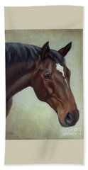 Thoroughbred Horse, Brown Bay Head Portrait Beach Towel