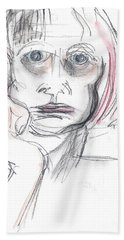 Beach Sheet featuring the drawing Thoughtful - A Selfie by Carolyn Weltman