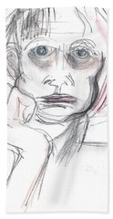Beach Sheet featuring the mixed media Thoughtful by Carolyn Weltman