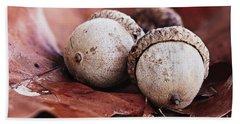 Three Acorns And Autumn Oak Leaves Beach Sheet