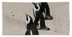 Three African Penguins Beach Towel