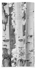 Three Aspens In Black And White  Beach Towel
