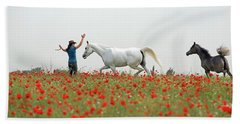 Three At The Poppies' Field Beach Towel