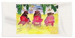 Watercolor Three Bears Visiting Hawaii Beach Towel