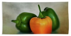 Beach Towel featuring the photograph Three Bell Peppers by David and Carol Kelly