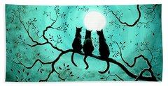 Three Black Cats Under A Full Moon Beach Sheet by Laura Iverson