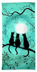 Three Black Cats Under A Full Moon Beach Sheet