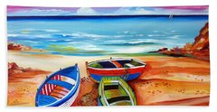 Three Boats And A Seagull Beach Towel