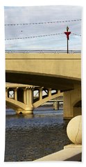 Beach Towel featuring the photograph Three Bridges by Phyllis Denton
