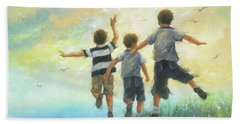 Three Brothers Leaping Beach Towel