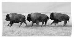 Three Buffalo In Black And White Beach Towel