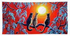 Three Cats In A Bright Red Sunset Beach Towel