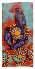 Three Crows And Sunflower Beach Towel