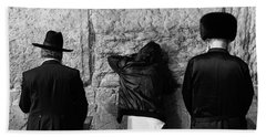 Beach Towel featuring the photograph Three Different Selichot Prayers At The Kotel by Yoel Koskas