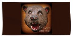 Beach Towel featuring the photograph Three  Dimensional 1953 Folk Art Bear Head by Peter Gumaer Ogden