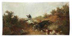Three Dogs Chasing A Rabbit Down A Hole Beach Towel