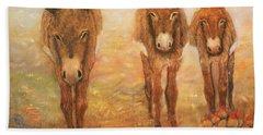 Three Donkeys Beach Towel by Loretta Luglio