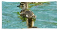 Three Ducklings Swimming Beach Sheet
