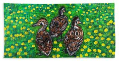 Three Ducklings Beach Towel by Valerie Ornstein