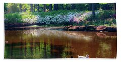 Three Ducks At The Azalea Pond Beach Sheet by Tamyra Ayles