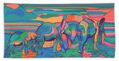 Three Elephants Walking  Beach Sheet