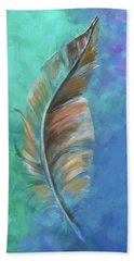 Beach Towel featuring the painting Three Feathers Triptych-center Panel by Agata Lindquist
