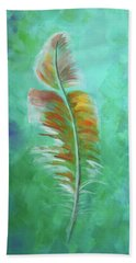 Beach Towel featuring the painting Three Feathers Triptych-left Panel by Agata Lindquist