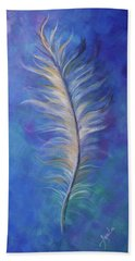 Beach Towel featuring the painting Three Feathers Triptych-right Panel by Agata Lindquist