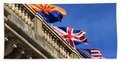 Three Flags At London Bridge Beach Sheet