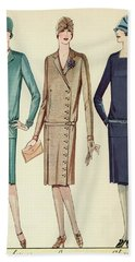 Three Flappers Modelling French Designer Outfits, 1928 Beach Towel