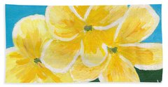 Three Flowers On Blue Beach Towel