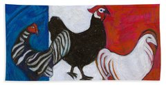 Beach Towel featuring the painting Three French Hens by Denise Weaver Ross