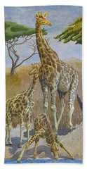 Three Giraffes Beach Towel