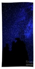 Beach Towel featuring the photograph Three Gossips And The Milky Way - Arches National Park by Gary Whitton