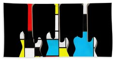 Three Guitars Modern Tee Beach Towel by Edward Fielding
