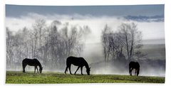 Three Horse Morning Beach Towel
