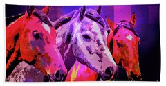 Beach Towel featuring the digital art Three Horses by Mimulux patricia No
