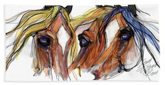 Three Horses Talking Beach Towel