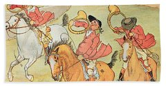 Three Jovial Huntsmen Beach Sheet by Randolph Caldecott
