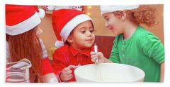 Three Kids Making Christmas Cookies Beach Sheet