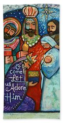 Three Kings O Come Let Us Adore Him Beach Towel