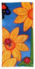 Three Ladybugs And Butterfly Beach Towel by Genevieve Esson